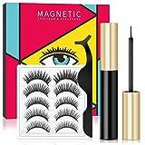 Magnetische Wimpern Magnetischer Eyeliner Set, Wasserdichtem Langlebigem Magnetische Eyeliner, Wiederverwendbare Künstliche Magnet Wimpern, Falsche Wimpern Natürlich Look, 5 Paare