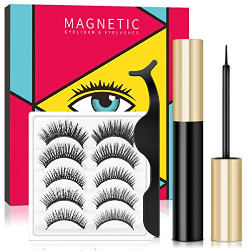 Magnetische Wimpern Magnetischer Eyeliner Set, Wasserdichtem Langlebigem Magnetische Eyeliner,...
