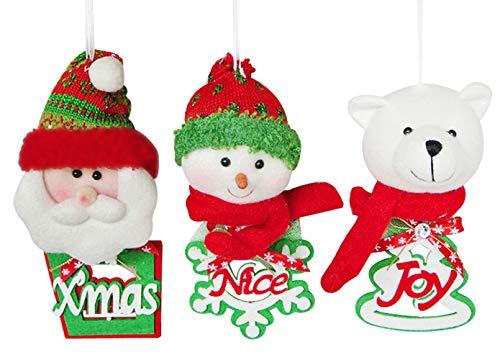 YING LING CRAFTS Christmas Tree Decorations Ornaments, Set of 3 Hanging Festive Seasonal Decorations, Plush Christmas Pendants, Xmas Santa Claus, Noel Snowman, Joy Bear for Xmas Party Home Decor