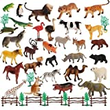 YIJUN Mini Jungle Animals Figure Toys Play Set 30 Piece, Realistic Wild Plastic