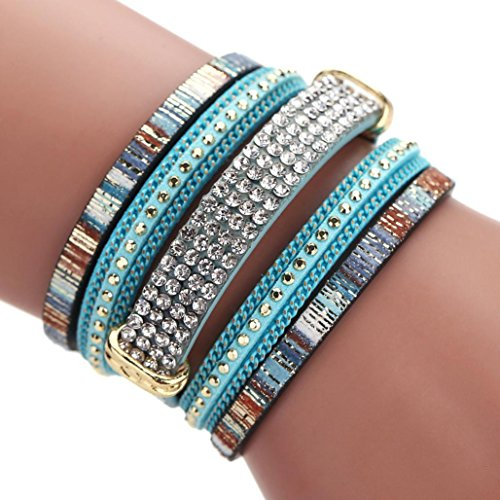 Mingfa.y Vintage Bohemia Beaded Multilayer Leather Bracelet, Handmade Braided Wrap Cuff Magnetic Clasp for Women (Blue)