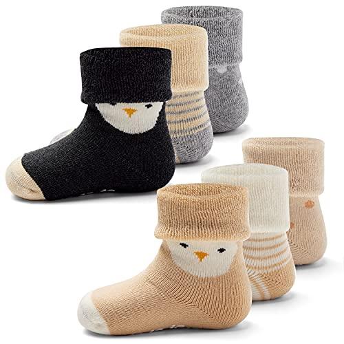 Aisyee Calcetines cálidos para bebé y niño, gruesos, calcetines de invierno, calcetines para bebés, niñas, antideslizantes, 6 pares, Mix 5150, 12-24 meses