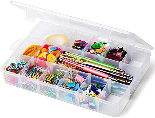 iBune Plastic Organizer Container with Adjustable Dividers Plastic Storage Box with 18 Removable product image