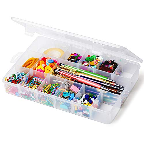 iBune 18 Grids Plastic Compartment Container, Bead Storage Organizer Box Case with Adjustable Removable Dividers for Jewelry Craft Tackles Tools, Size 11.7 x 7.7 x 1.7 in (White)