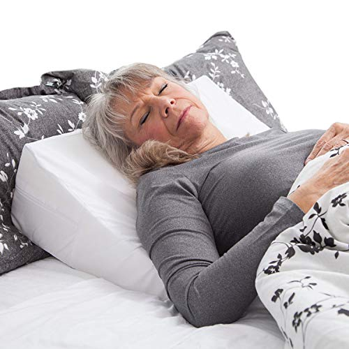 DMI Wedge Pillow to Support and Elevate Neck, Head and Back for Acid Reflux or Feet and Legs to Reduce Back Pain and Improve Circulation with Removable Cover, 24x24x7 Inch, White