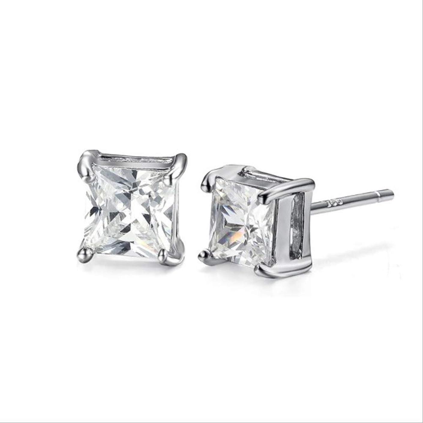 番号ジャズロックシンプルなジルコンイヤリングイヤリングシルバーメッキイヤリングイヤリング4爪の正方形のラインストーンの女性に適した
