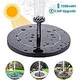AISITIN Solar Springbrunnen mit 3.5W Solar Panel, Solar Teichpumpe Eingebaute 1500 mAh Batterie Wasserpumpe Solar Schwimmender Fontäne Pumpe mit 6 Fontänenstile für Garten, Vogel-Bad, Fisch-Behälter
