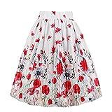 EUDOLAH Femme Jupe Taille Haute années 50 Vintage Mi Longue Chic Rétro Midi Jupe Plissée M Fleur Rouge