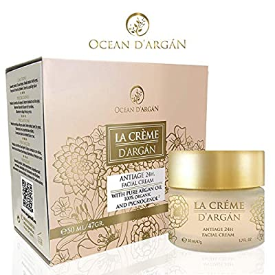 Anti Aging Face Cream LA CRÉME by OCEAN D'ARGAN- Moisturiser and Anti Wrinkle Cream for women and men. With Argan Oil and Citrus Oils rich in Vitamin C. All skin types, day or night. Parabens Free
