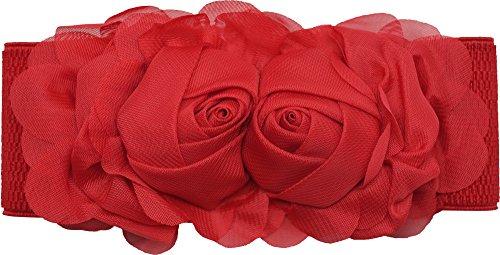 Meta-U - Cinturón elástico para mujer - Fantasía floral rojo talla unica