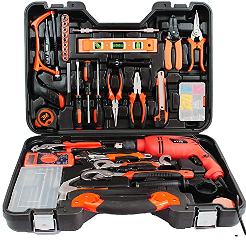 FMONH 128 Pc Hammer Drill Tool Kit Household Power Tools Drill Set with Drill Driver Claw Hammer Wrenches Pliers