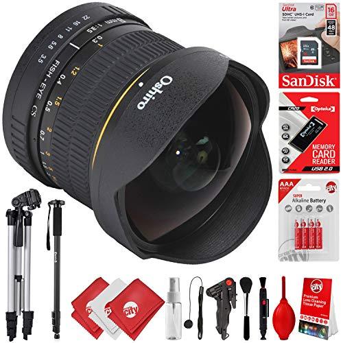 Oshiro 8mm f/3.5 HD Aspherical Fisheye Lens & Removable Hood for Canon EOS 80D, 77D, 70D, 60D, 7D, 6D, 5D, 7D Mark II, T7i, T6s, T6i, T6, T5i, T5, SL1 & SL2 Digital SLR Cameras -  Circuit City, circuitcity113747