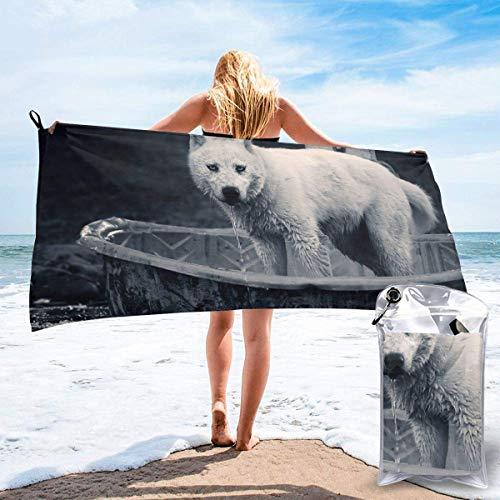 Toallas de Playa de Antiarena de Microfibra para Hombre Mujer, 130x80cm, Toallas Baño Calidad Gigante Secado Rapido para Piscina, Manta Playa, Toalla Yoga Deporte Gimnasio,Lobo