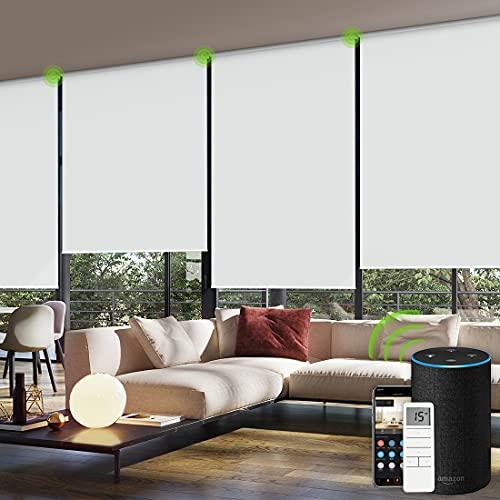 Yoolax persianas arrollables motorizadas para la Ventana con Mando a Distancia, Blackout, automático con Alexa, Estor Inteligente de batería Recargable y Segura para niños con Cenefa (Blanco Puro)