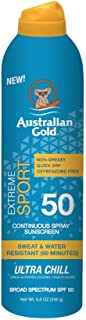 Australian Gold Extreme Sport Continuous Spray Sunscreen SPF 50, 6 Ounce | Broad Spectrum | Sweat & Water Resistant | Non-Greasy | Oxybenzone Free | Cruelty Free, Sport -  New