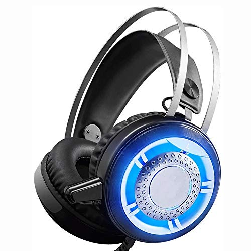 Big Shark Gaming-headset voor PC, PS4, Mac, laptop met ruisonderdrukking, surround sound gaming hoofdtelefoon, zachte opslag boven het oor, PS4-headset