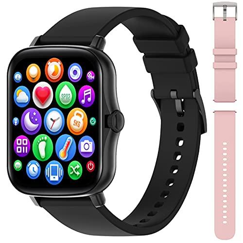 Smartwatch Orologio Fitness Tracker Uomo Donna Smart Watch 1.69   schermo Activity Tracker Impermeabile Orologio Sportivo con SPO2 Meteo Respiratori Interfacce Personalizzate per Android iOS-2 cinghie