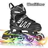 Woolitime Sports Adjustable Rollerblades for Boys and Kids with Featuring All Illuminating Wheels