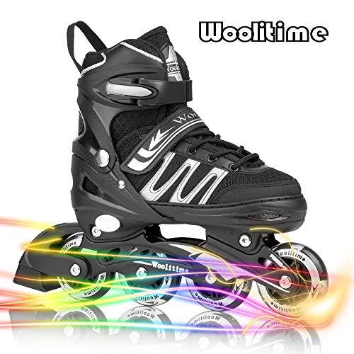 Woolitime Sports Verstellbare Kufen Rollschuhe für Jungen und Kinder mit allen leuchtenden Rädern, sichere und langlebige Inlineskates, modische Rollschuhe für Frauen, Jugendliche und Erwachsene