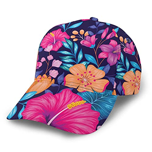Beautiful Hawaiian Floral Baseball Hats for Men Women, Elastic Fitted Caps with Curved Brim Sports Cap for Running Workouts and Outdoor Activities