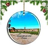 Weekino Montreuil-Sur-Mer Francia Les remparts Decoración de Navidad Árbol de Navidad Adorno Colgante Ciudad Viaje Colección de Recuerdos Porcelana 2.85 Pulgadas