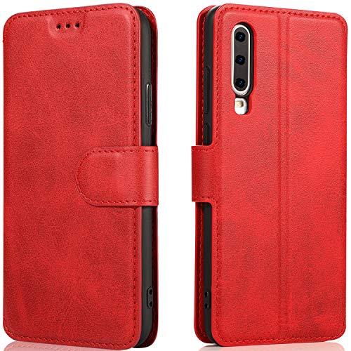 LeYi Hülle Huawei P30 Mit HD Folie Schutzfolie,Leder Wallet Etui Handyhülle Magnet Tasche Slim Silikon Soft Skin Grip Bumper TPU Schutzhülle Cover Case für Handy Huawei P30-Matt Rot