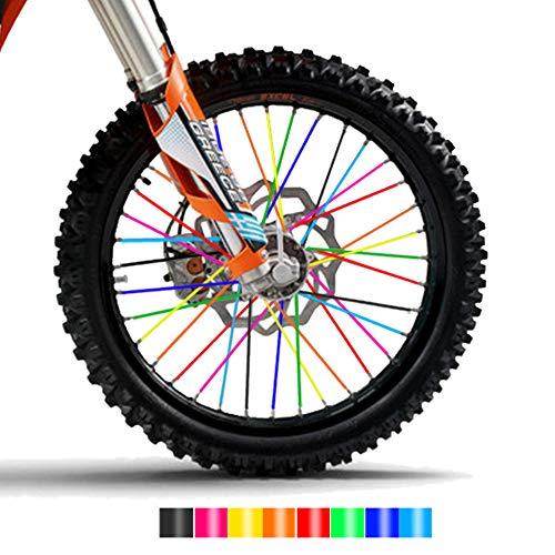 TREONK Speichencover Universal - 72 Stück Speichen Skins Felgen Covers Motorrad Speichen Abdeckungen Speichenröhre für Motorradfelgen 19-21 Zoll
