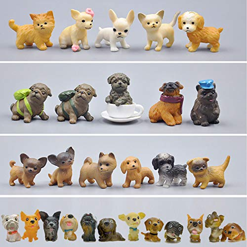 Mini Plastic Puppy Dog Figurines for Kids  28 Pack High Imitation Detailed Hand Painted Realistic Small Dog Figurines Toy Set