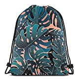 Sanme Mochila con cordón Nature Cute Monstera Mint Pink Creative Pattern Mochila con cordón Impermeable