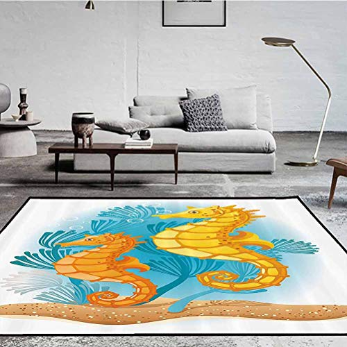 Underwater Polyester Protective Cushioning Rug Pad Indoor Modern Area Rugs Two Seahorses on The Seabed with Coral Reefs Marine Life Aquatic Print Marigold Turquoise 7.5 x 5 ft
