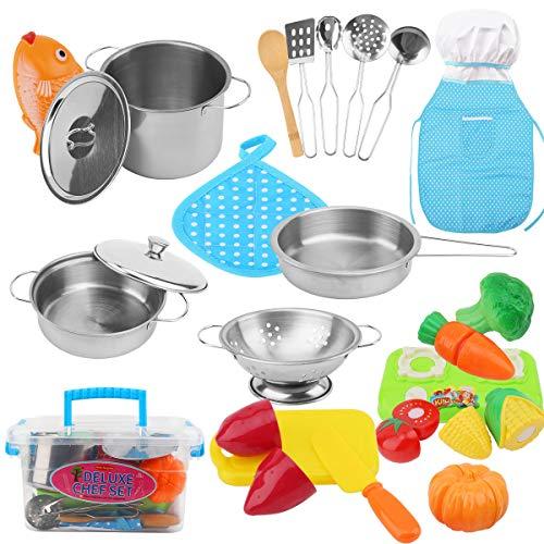 FORMIZON Juguetes de Cocina para Niños, Juguetes de Cocina Set con Alimentos Cortar Juguete Chef y Acero Inoxidable Utensilios de Cocina Culinario, Juguete para Niños Mayores de 3 Años