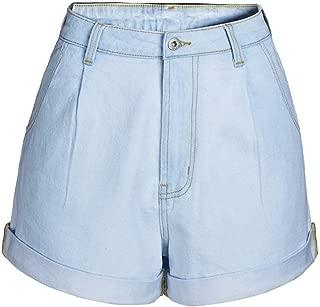 LUKEEXIN Women's High Rise Rolled Hem Jeans Denim Shorts