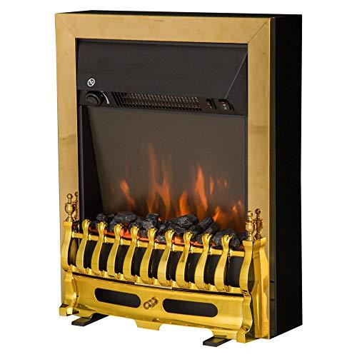 Cheminée électrique Style néo rétro Thermostat 1000-2000 W Noir Or
