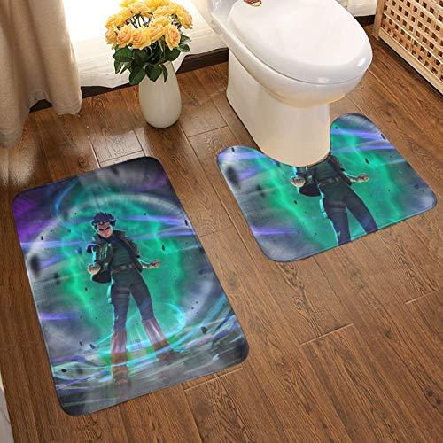 dgdgdg Anime Naruto Rock Lee - Juego de 2 alfombrillas de baño con almohadillas antideslizantes suaves + almohadillas de contorno, alfombras absorbentes para baño y alfombrillas antideslizantes