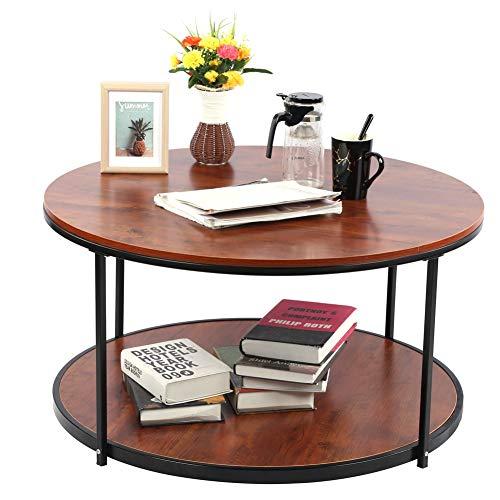Runder Couchtisch 2 Ebenen Wohnzimmertisch Retro Holzmaserung Sofatisch Beistelltisch 89.7cm Kaffeetisch Teetisch, 89,7 x 46 cm