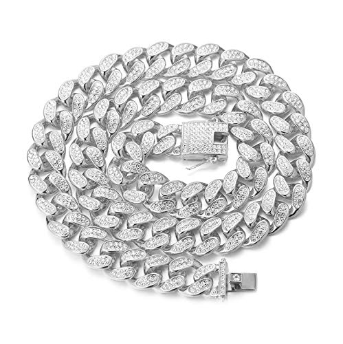 """Halukakah Gold Chain for Men,20MM Cuban Link Chain Iced Out Miami Platinum White Gold Finish Choker Necklace 20"""",Full Cz Diamond Cut Prong Set,with Giftbox"""