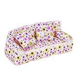 ETHAHE 20 x 7.5 x 8cm Weiß Hintergrund Bunt Blumen Aufdruck Couch/Sofa Für Barbie Miniatur Möbel+ 2 Stück 6 x 6cm Kissen