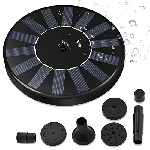 Solar Fountain Pump, Free Standing 1.4W Bird Bath Fountain Pump for Garden and Patio, Solar Panel Kit Water Pump (2017 Entry)