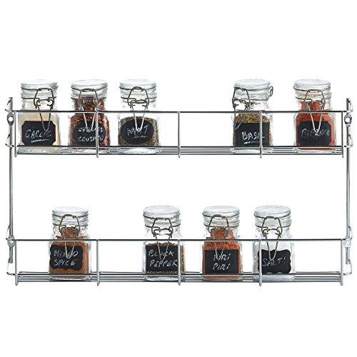 VonShef Estante Soporte doble cromado para especies/hierbas - perfecto para montarse en la pared o dentro de un armario