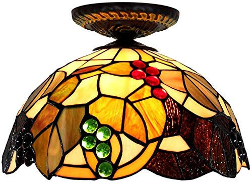 DIMPLEYA Ceiling Lamp Vintage Crystal Yellow Lamp Cover Style For European Room Living Retro Medium : 3d Crystal