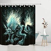 ホラー空腹のオオカミ画像シャワーカーテンバスルームの装飾生地12フック