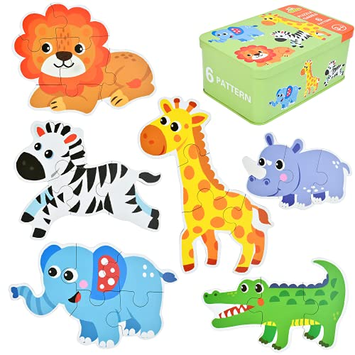 EKKONG Puzzles de Madera,Animales Rompecabezas,Juguetes Bebes, Puzzles de Madera Educativos para Bebé, Juguetes niños 1 año 2 3 4 5 6 años (6 Pack)