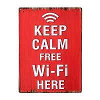 ブリキ看板 サインボード ビンテージ Wi-Fi プレート 赤 ホワイト 縦向き レトロ アメリカン雑貨 メタルプレート アンティーク 店舗用