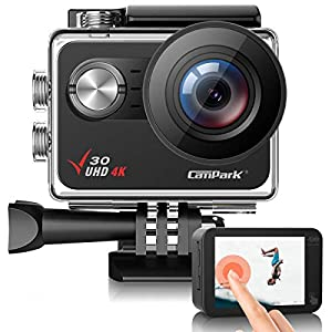 Campark V30 Native 4K Action Camera 20MP EIS Touch Screen WiFi Waterproof Camera with Optional View Angle, 2 1350mAh Batteries and Mounting Accessories Kit Compatible with GoPro