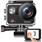 Campark V30 Native 4K Action Camera 20MP EIS Touch Screen WiFi Waterproof PC Webcam with Optional View Angle, 2 1350mAh Batteries and Mounting Accessories Kit Compatible with GoPro