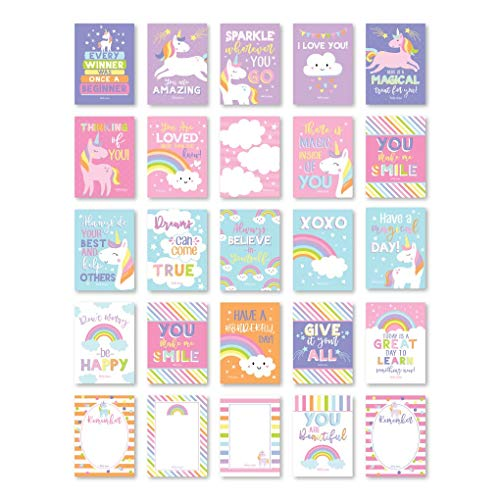 25 Unicorn School Lunch Box Notes For Kids, Inspirational Motivational Cards Boys Girls From Mom, Encouraging Student Children Teens, Thinking of You Positive Affirmation Encouragement Lol Fun Love