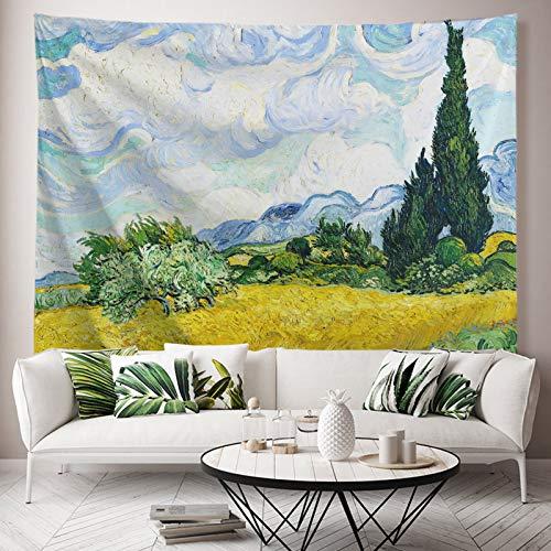ORTIGIA Van Gogh Weizenfeld mit Zypressen Tapisserie, Ölgemälde, Blumen-Wandbehang, Naturlandschaft, Wandkunst, Heimdekoration für Schlafsaal, Schlafzimmer, Wohnzimmer, 130 x 150 cm (B x L)