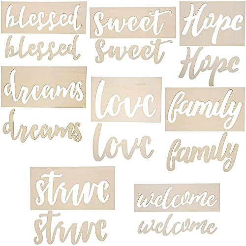 Positive Wood Stencil Templates for Crafts, DIY Projects, Painting (8 Pack)