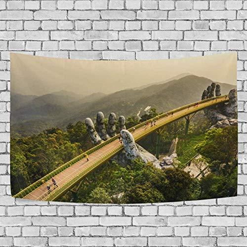 Tapiz Art Paño para colgar en la pared Impresión HD Cocina Dormitorio Sala de estar Decoración,El puente dorado se levanta con el fondo exclusivo de dos manos gigantes para SHV de 60 x 40 pulgadas