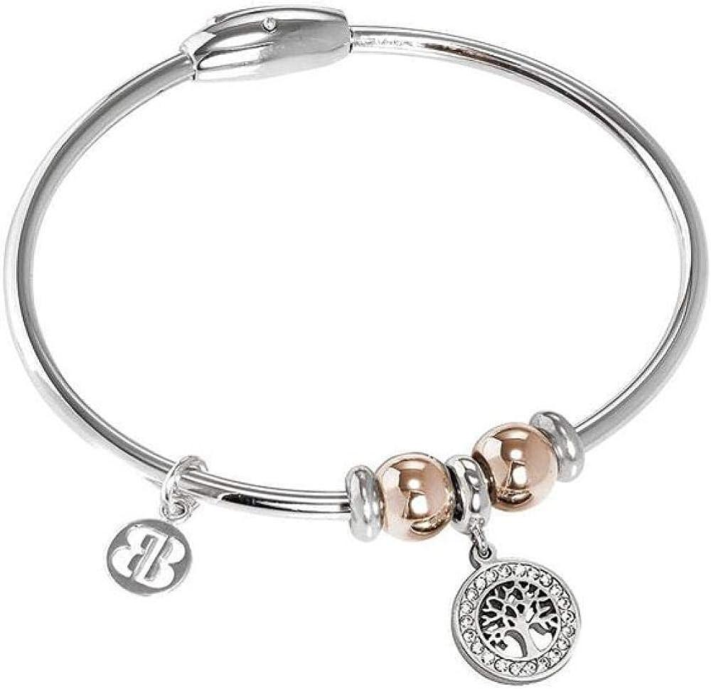 Boccadamo, bracciale per donna,in acciaio rodiato con charm centrale a forma di albero della vita decorato XBR772